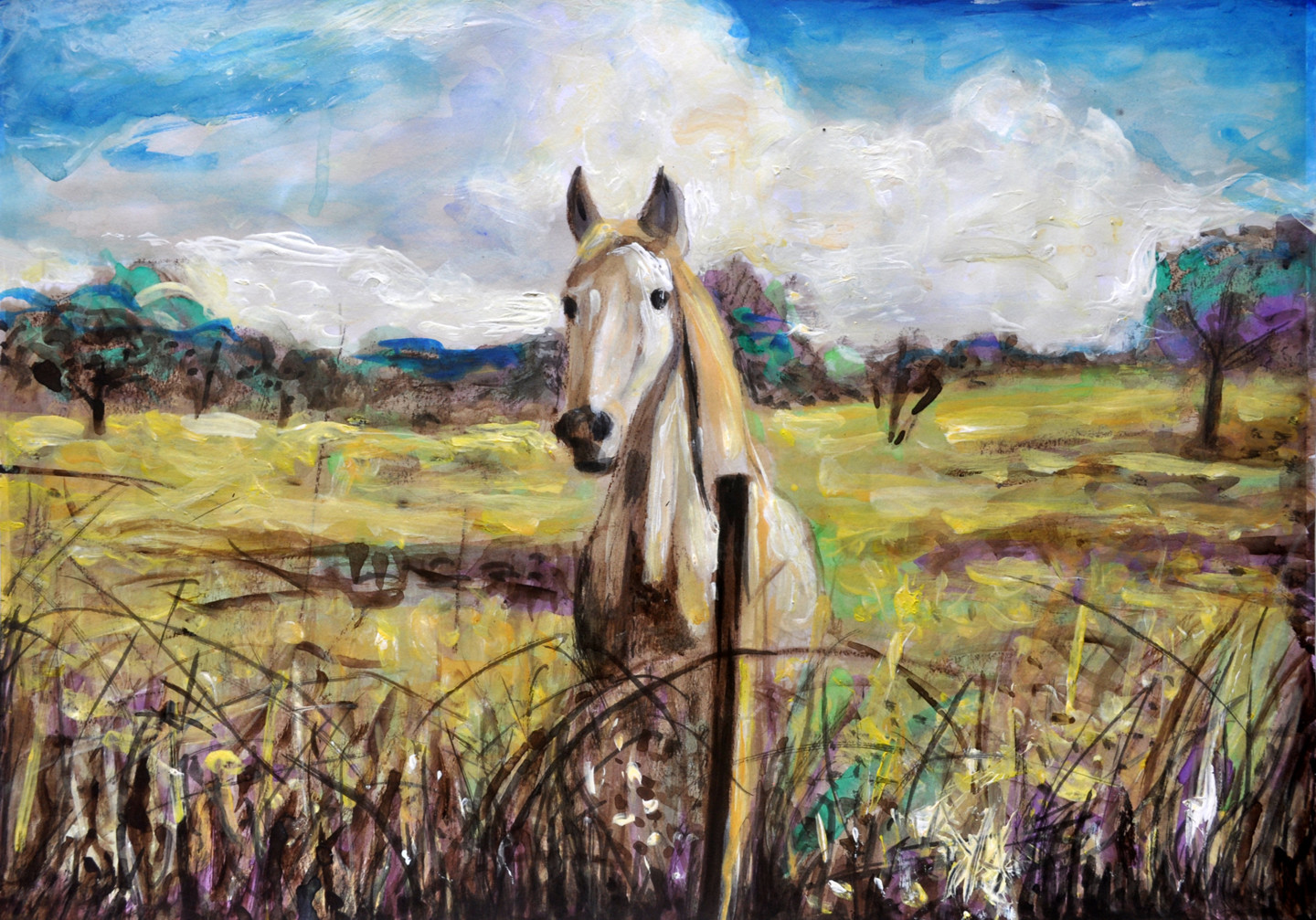 White Horse In Alentejo Portugal Painting By Alex Solodov Artmajeur