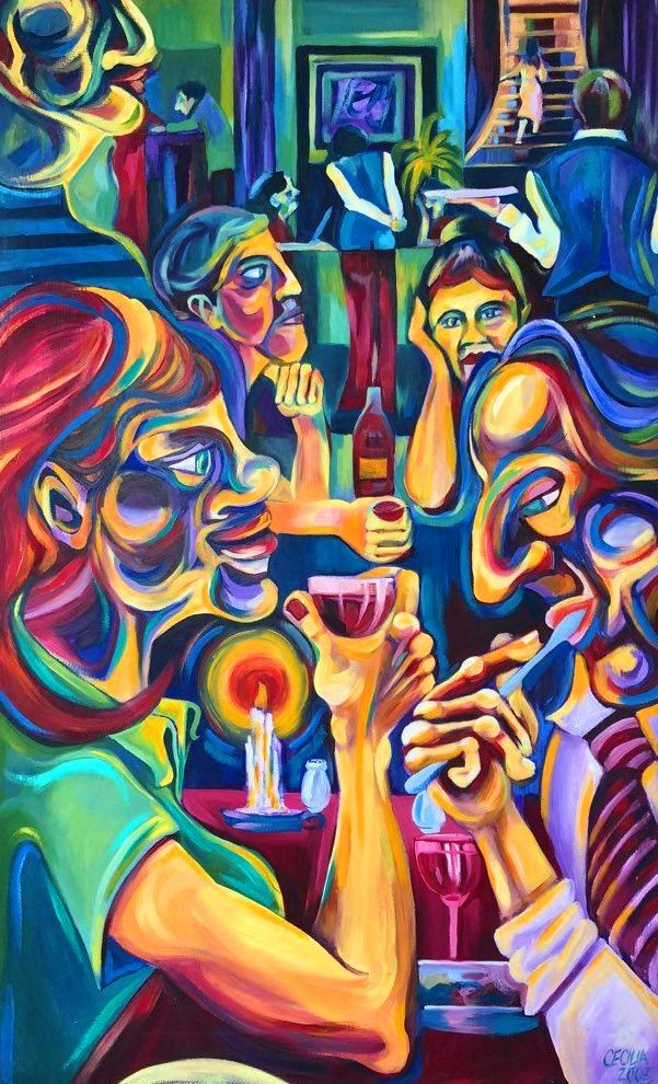 Dinner Painting by Cecilia Ferreira | Artmajeur