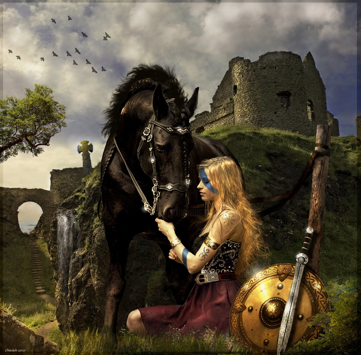 Viking Woman And Horse Chtuluh 2016 By Chtuluh2 D9w29lh Jpg Painting By Chtuluh Artmajeur