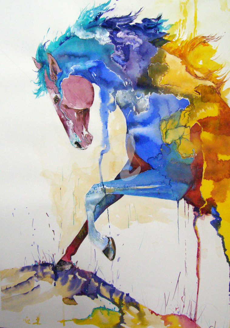 The Rainbow Horse Painting By Cl Artmajeur