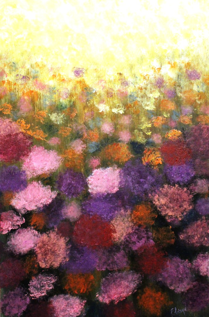 Sunset Purple Flowers Field In The Spring Time Painting By Eliane Ellie Artmajeur