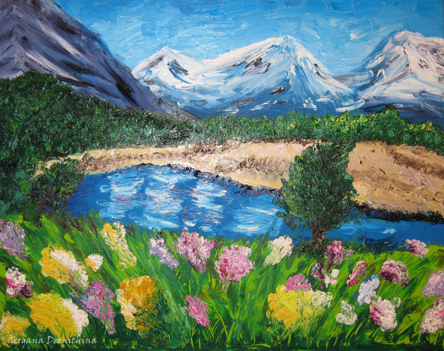 Mountain Spring Oil Finger Painting Painting By Gergana
