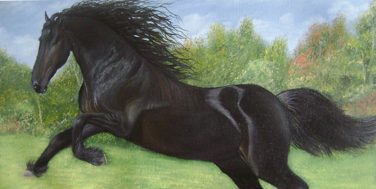 Black Horse Running Painting By Goutami Mishra Artmajeur