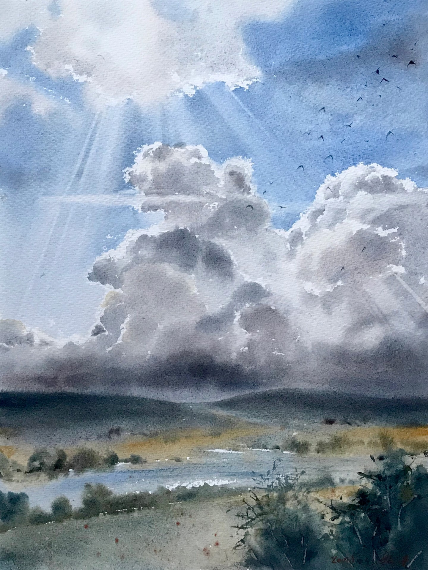 field and clouds painting by eugenia gorbacheva artmajeur field and clouds painting by eugenia