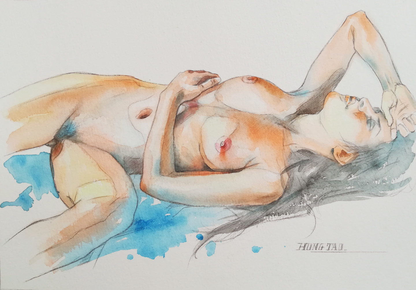 Chinese Nude Woman Original Watercolor Painting Signed
