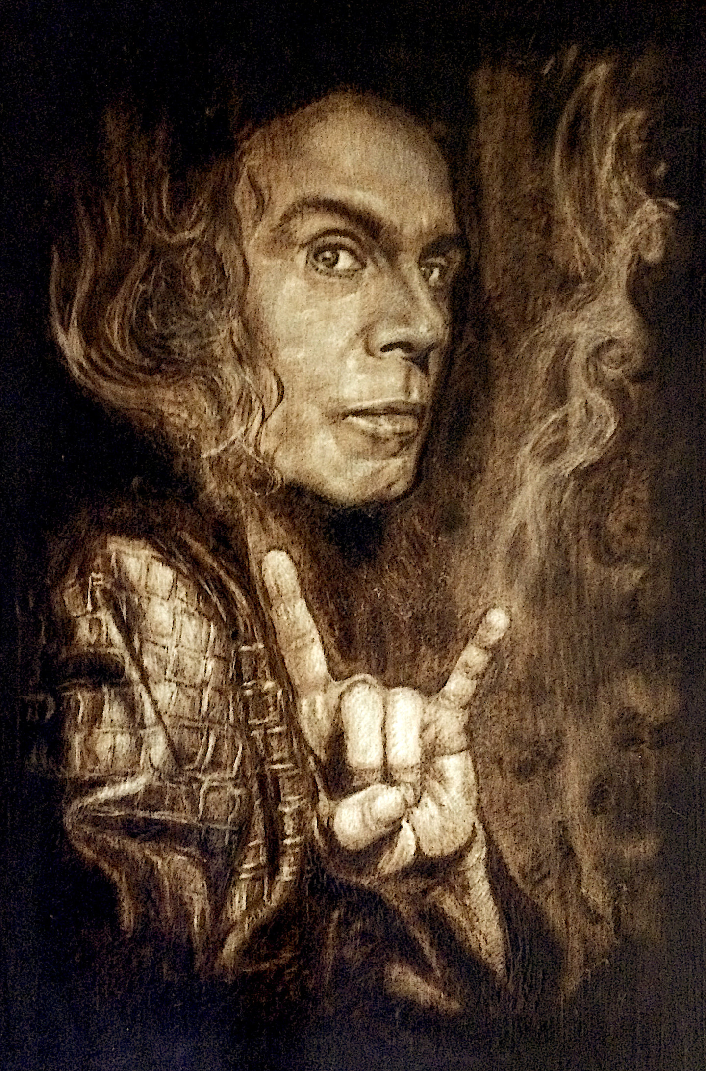 Dio Pyrography Wood Burning Drawing By Ivan Tokushev Artmajeur
