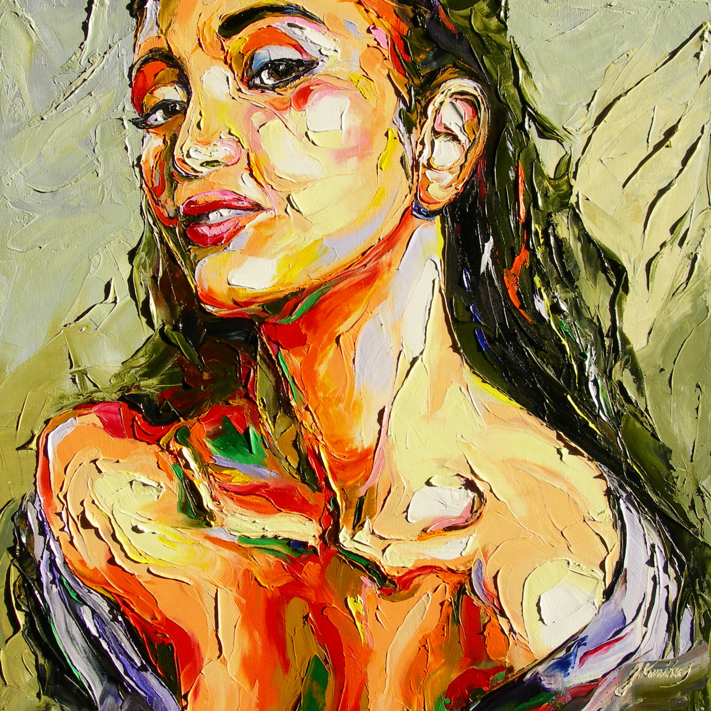 Oil on canvas portrait of naked woman