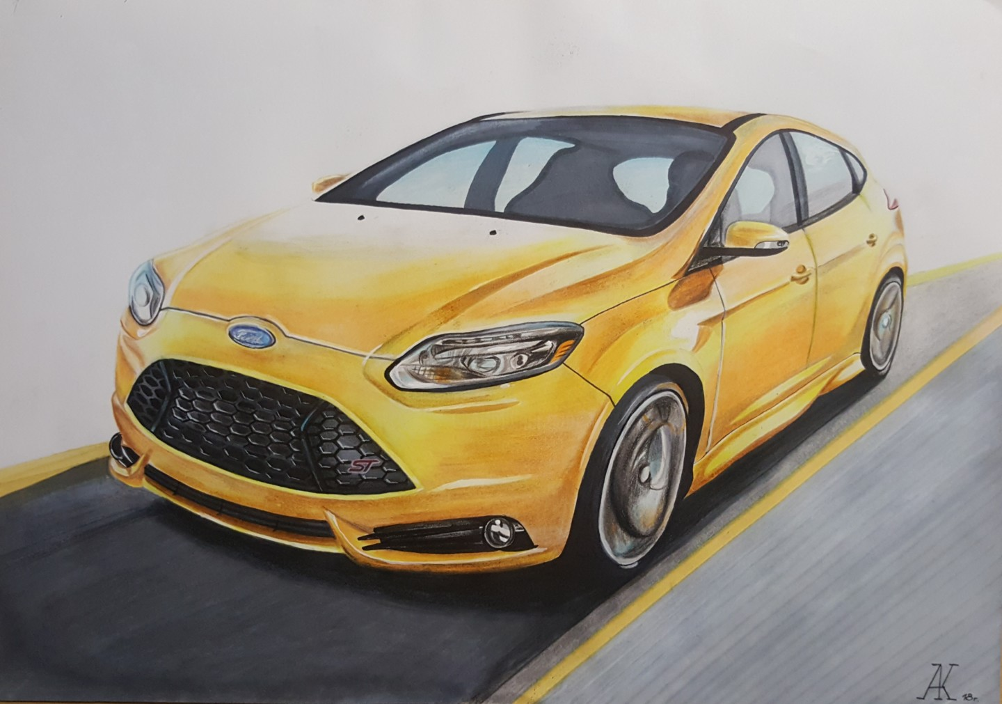 Ford Focus 3 ST.jpg Drawing by Artem Kuzmichev | Artmajeur