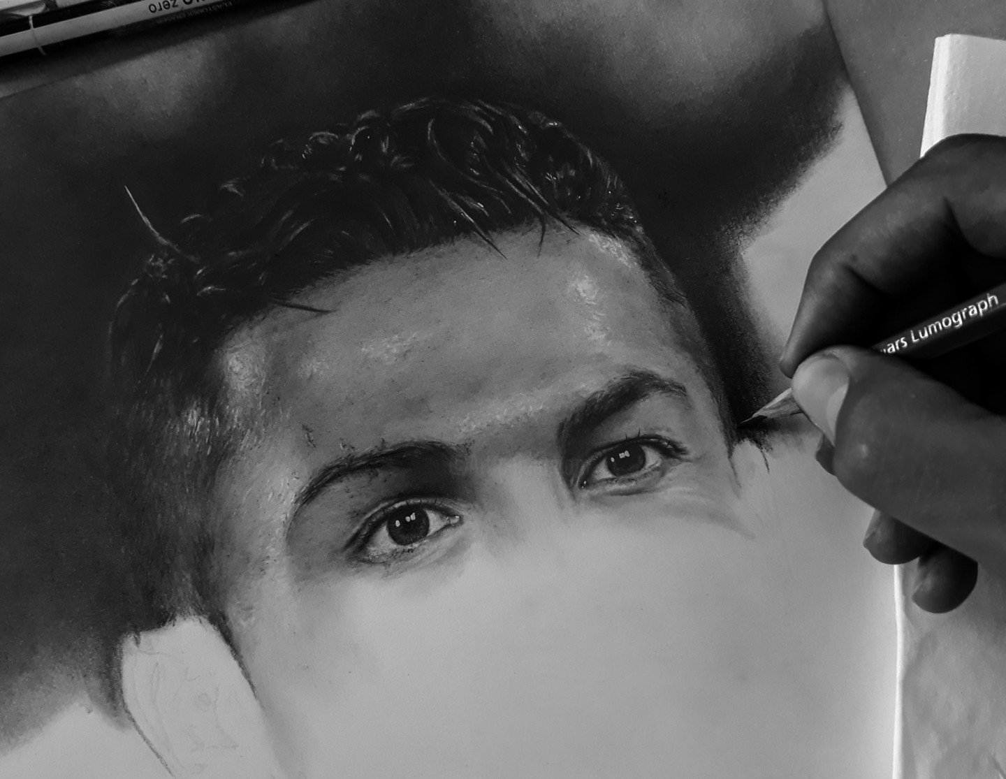 Cristiano Ronaldo Portrait En Cours Drawing By Oussema Bouhamed Artmajeur