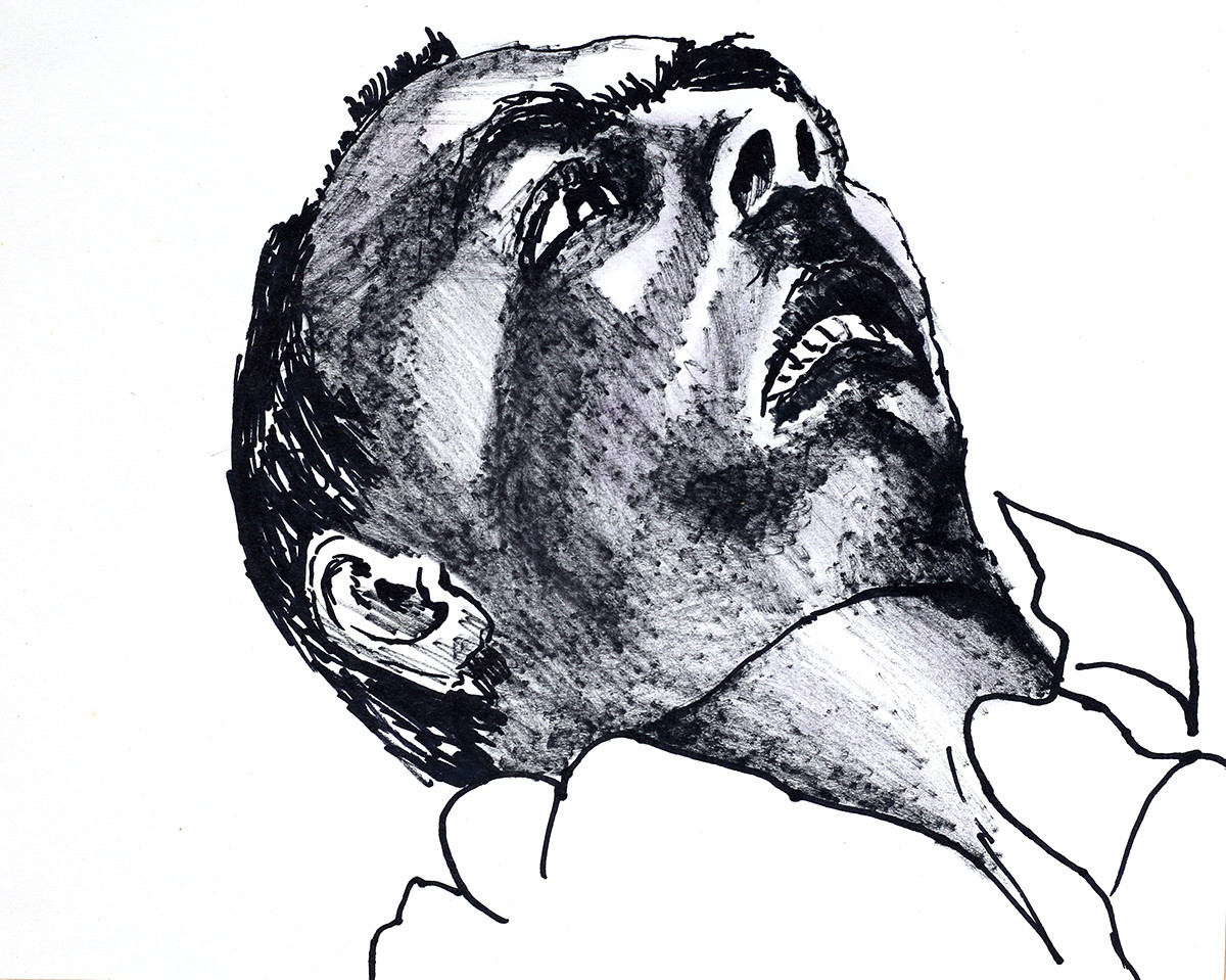 Portrait Of A Mentally Ill Man In Manic Depression Drawing By Raphael Perez Artmajeur
