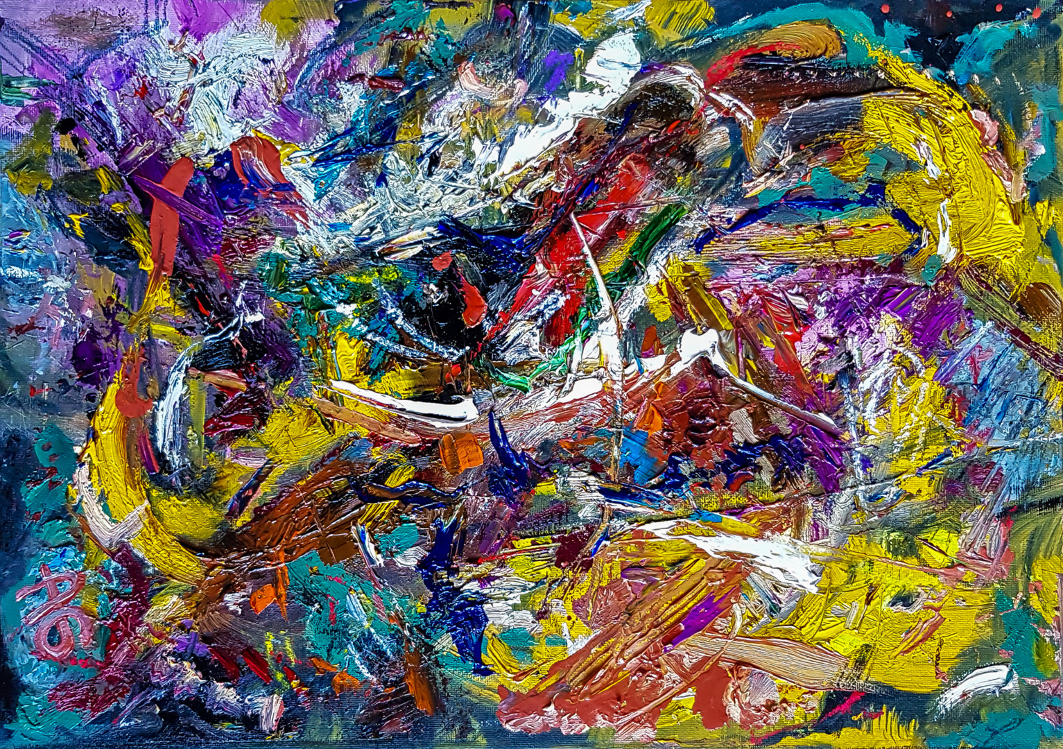 Style of Abstract Expressionism Textured Oil Art. Painting ...