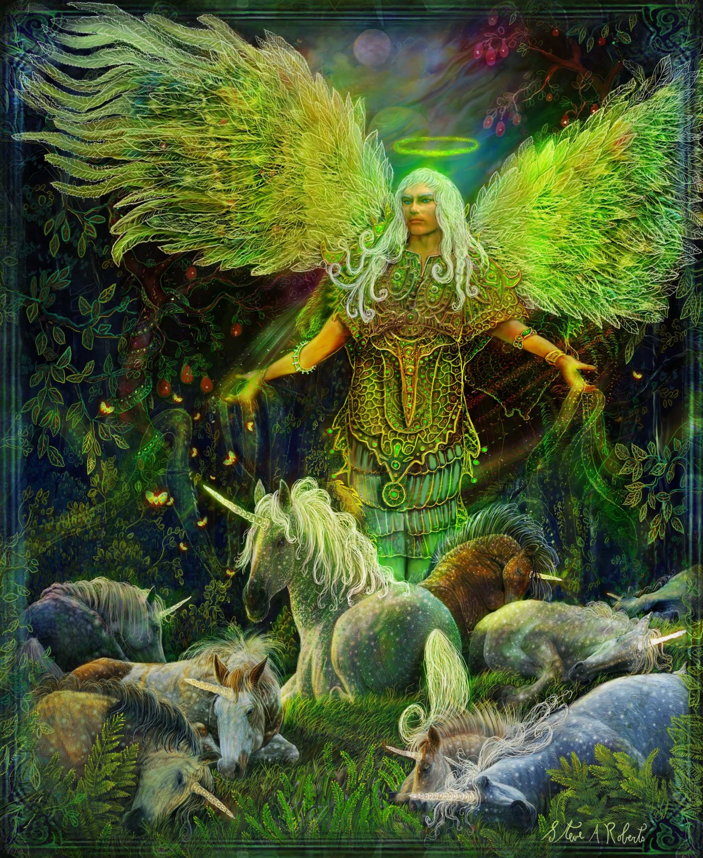 Archangel Raphael and the Unicorns Painting by Steve Roberts | Artmajeur