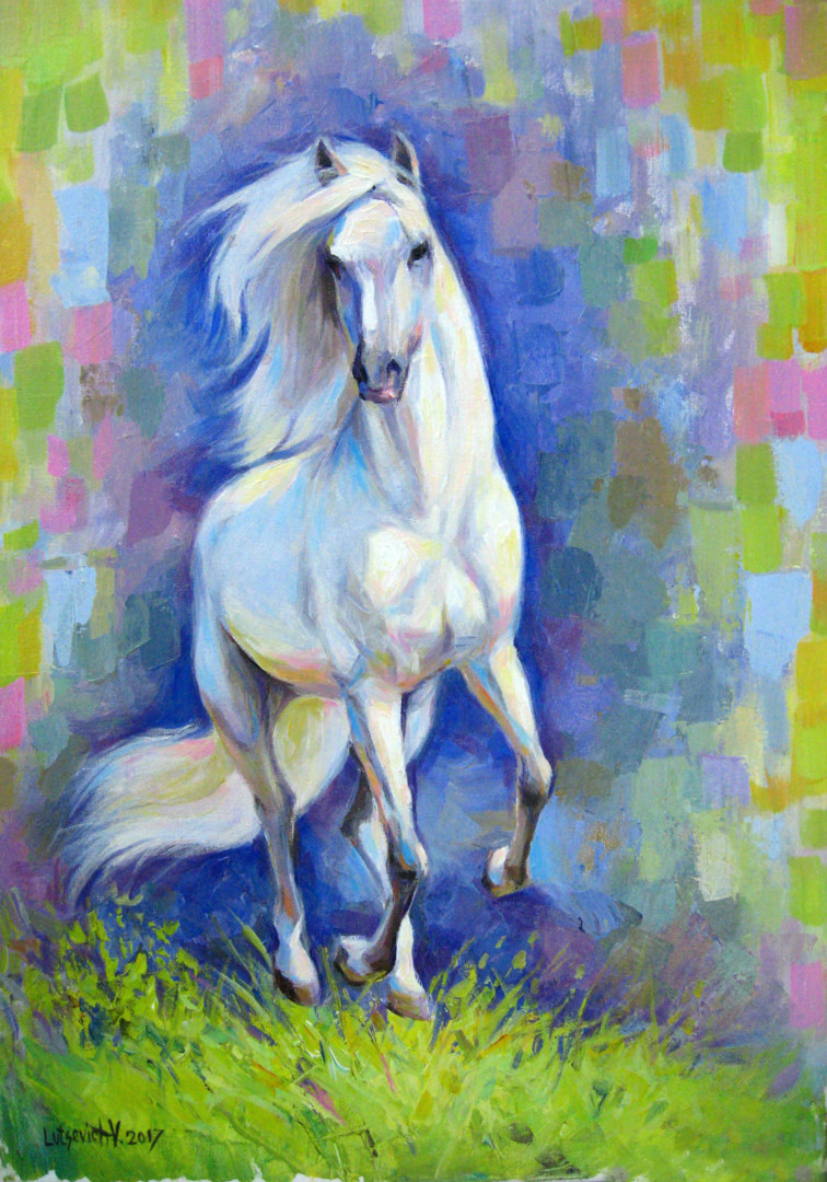 White Horse Painting By Vladimir Artmajeur