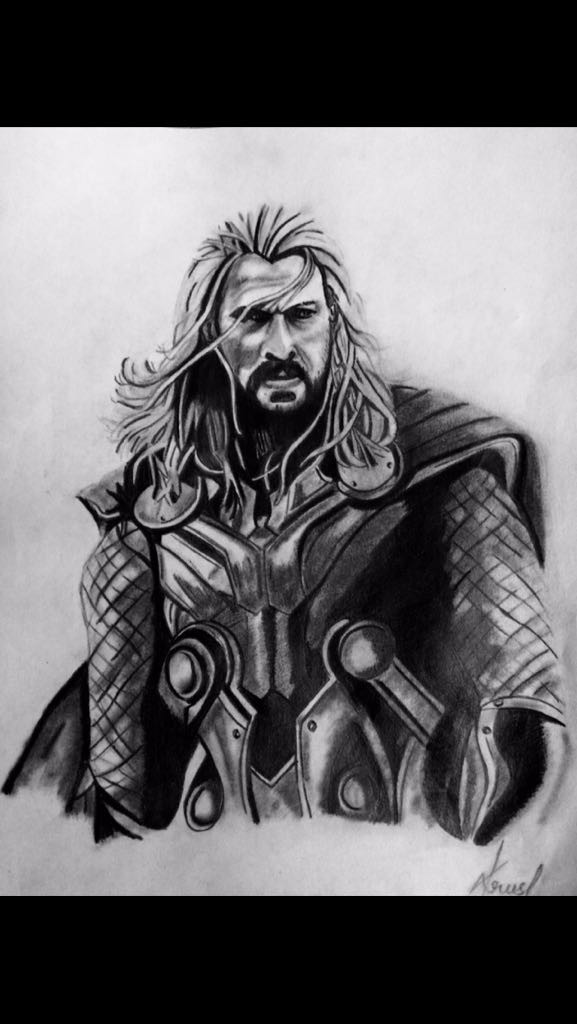 Pencil Sketch Of Thor Dessin Par Krushi Reddy Artmajeur
