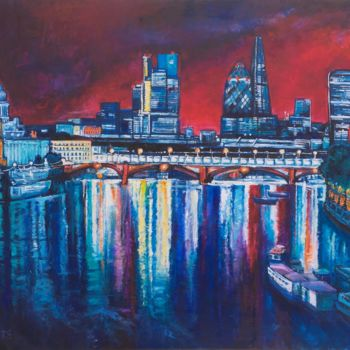 """Painting titled """"From St Pauls to th…"""" by Patricia Clements Art, Original Art, Oil Mounted on Stretcher frame"""