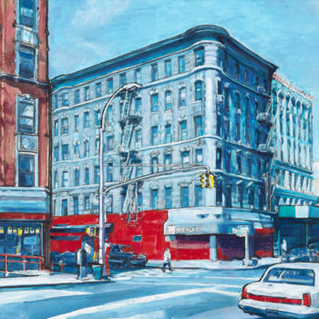 """Painting titled """"72 Street New York"""" by Patricia Clements Art, Original Art, Oil Mounted on Stretcher frame"""