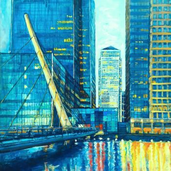 """Painting titled """"Canary Wharf near d…"""" by Patricia Clements Art, Original Art, Oil Mounted on Stretcher frame"""