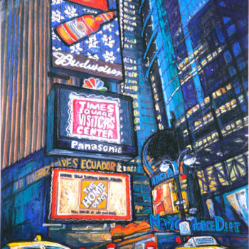 """Painting titled """"New York Times Squa…"""" by Patricia Clements Art, Original Art, Oil Mounted on Stretcher frame"""