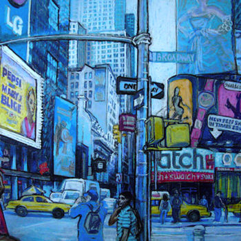 """Drawing titled """"Busy Broadway New Y…"""" by Patricia Clements Art, Original Art, Pastel"""