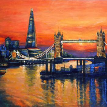 """Painting titled """"Orange sunset Londo…"""" by Patricia Clements Art, Original Art, Oil Mounted on Stretcher frame"""