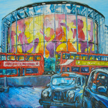 """Painting titled """"Imax London Citysca…"""" by Patricia Clements Art, Original Art, Oil Mounted on Stretcher frame"""