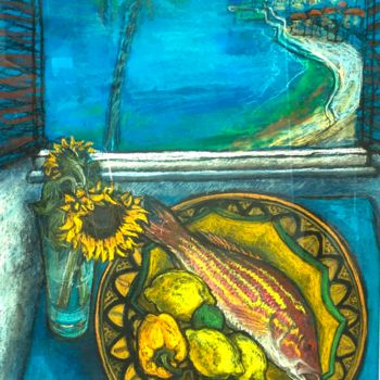 """Drawing titled """"Snapper Fish with a…"""" by Patricia Clements Art, Original Art, Pastel Mounted on Cardboard"""