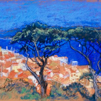 """Drawing titled """"St Tropez through t…"""" by Patricia Clements Art, Original Art, Pastel Mounted on Cardboard"""