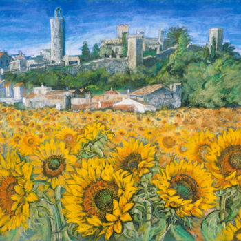 """Painting titled """"Sunflower fields a…"""" by Patricia Clements Art, Original Art, Pastel Mounted on Cardboard"""