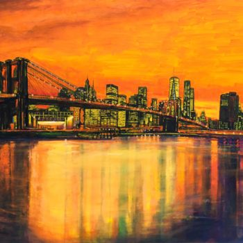 """Painting titled """"Brooklyn Bridge sun…"""" by Patricia Clements Art, Original Art, Oil Mounted on artwork_cat."""