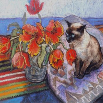 """Drawing titled """"Bob the visitor"""" by Patricia Clements Art, Original Art, Pastel Mounted on Cardboard"""
