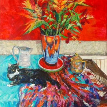 """Painting titled """"Cat with Bird of Pa…"""" by Patricia Clements Art, Original Art, Oil"""