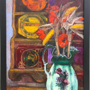"""Painting titled """"Still life with Vic…"""" by Patricia Clements Art, Original Art, Oil Mounted on Stretcher frame"""