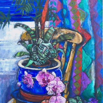 """Painting titled """"ORCHIDS, AFRICAN VI…"""" by Patricia Clements Art, Original Art, Oil Mounted on Stretcher frame"""