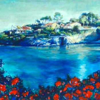 """Painting titled """"COTE DE AZURE FRENC…"""" by Patricia Clements Art, Original Art, Oil Mounted on Stretcher frame"""
