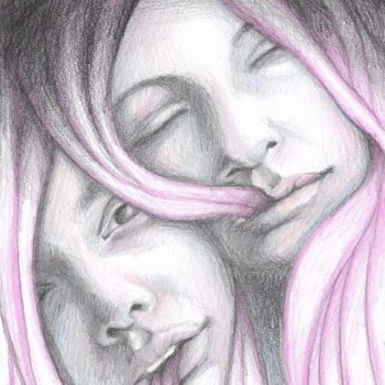 """Drawing titled """"SISTERS - GRAPHITE…"""" by Adelacreative, Original Art, Graphite"""