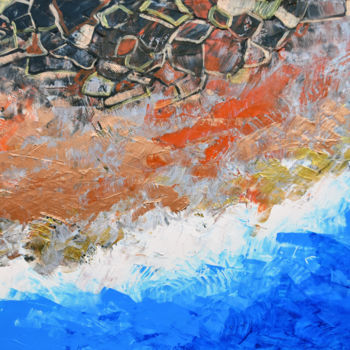"""Painting titled """"The Beach - aerial…"""" by Adelacreative, Original Art, Acrylic Mounted on Stretcher frame"""
