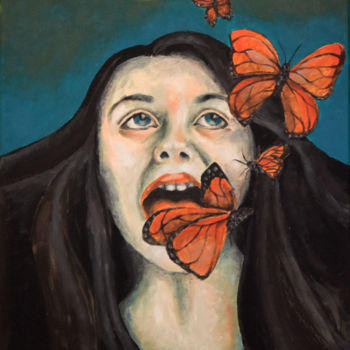 """Painting titled """"Girl with Butterfli…"""" by Adelacreative, Original Art, Acrylic Mounted on Stretcher frame"""