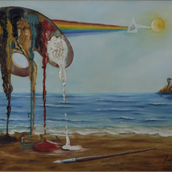 Painting, oil, surrealism, artwork by Rocha