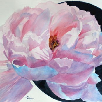 """Painting titled """"Une Pivoine"""" by Adyne Gohy, Original Art, Watercolor"""