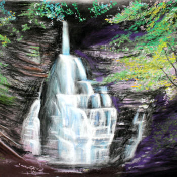 """Painting titled """"La Cascade des Dioux"""" by Adyne Gohy, Original Art, Pastel Mounted on Stretcher frame"""