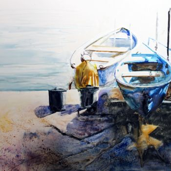 """Painting titled """"Le coin des pêcheurs"""" by Adyne Gohy, Original Art, Watercolor"""