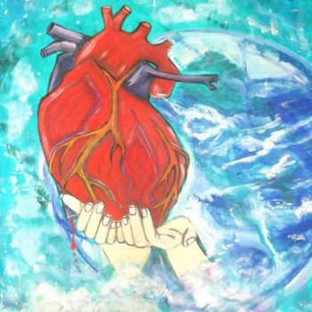 """Painting titled """"ripped out Heart"""" by Elle Sun, Original Art, Acrylic Mounted on Stretcher frame"""