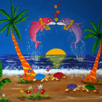 """Painting titled """"Island Love"""" by Allegretto, Original Art, Acrylic"""