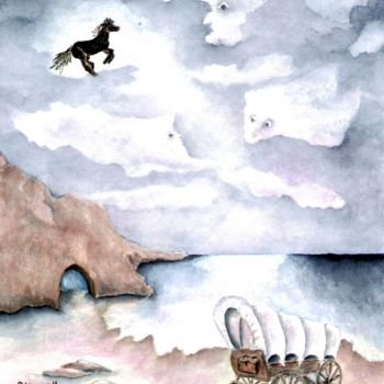 Painting, watercolor, surrealism, artwork by Allegretto