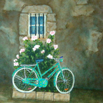 Bike Painting, acrylic, expressionism, artwork by Allegretto