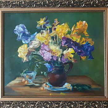 """Painting titled """"Summer in flowers"""" by Andriy Maslyanko, Original Art, Oil Mounted on Stretcher frame"""