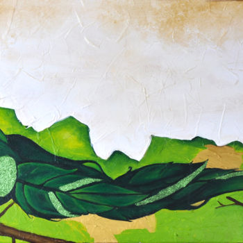 """Painting titled """"Green Light Bird"""" by Angie, Original Art, Acrylic Mounted on Stretcher frame"""
