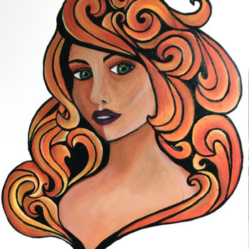 """Painting titled """"Seventy woman"""" by Angie, Original Art, Acrylic Mounted on Stretcher frame"""