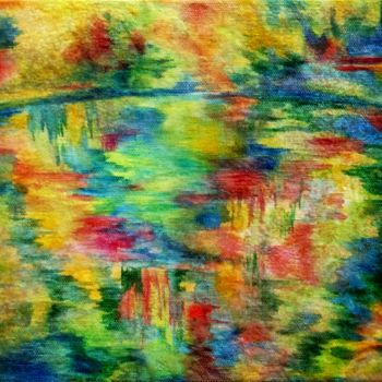 """Painting titled """"Lac aux reflets"""" by Anne Brigaud, Original Art,"""