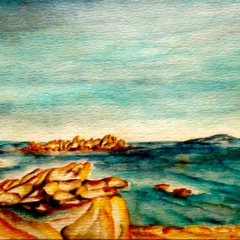 """Painting titled """"Plage corse"""" by Anne Brigaud, Original Art,"""